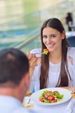 Couple having lanch at beautiful restaurant Stock Photography