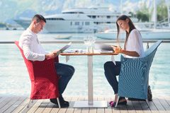 Couple having lunch at beautiful restaurant Stock Image