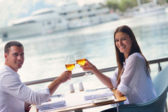 Couple having lunch at beautiful restaurant Stock Photo
