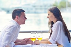 Couple having lunch at beautiful restaurant Royalty Free Stock Photo