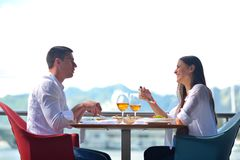 Couple having lunch at beautiful restaurant Royalty Free Stock Photography