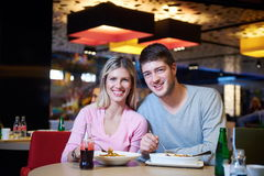 Couple having lunch break in shopping mall Royalty Free Stock Image
