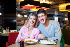 Couple having lunch break in shopping mall Royalty Free Stock Photo