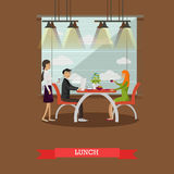 Couple having lunch in restaurant concept vector illustration Stock Images