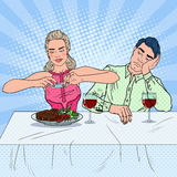 Couple Having Lunch in Restaurant. Woman Taking Photo of Food. Pop Art illustration Royalty Free Stock Image