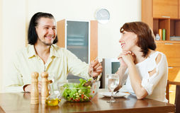 Couple having lunch with vegetables Stock Photography