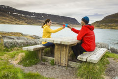 Couple having a nice day in nature Royalty Free Stock Photos