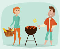 Couple having a picnic. Bbq party concept. Cartoon vector Stock Photos