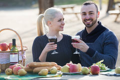 Couple having picnic in sunny spring day at countryside Stock Image
