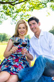 Couple having picnic wit red wine on meadow Stock Photo