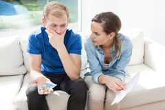 Couple having problems with paying bills royalty free stock photography