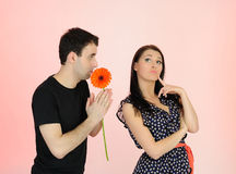 Couple having problems in relationship. stock photo