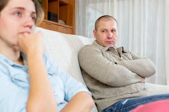 Couple having quarrel at home Stock Photography