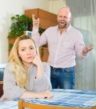 Couple having quarrel indoor Stock Photos