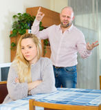 Couple having quarrel indoor Royalty Free Stock Image