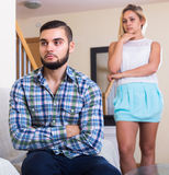 Couple having quarrel indoors Stock Photo