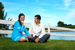 Couple having a rest on the nature Royalty Free Stock Images