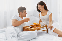 Couple having a romantic breakfast Royalty Free Stock Images