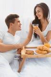 Couple having a romantic breakfast Royalty Free Stock Photos