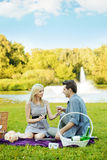 Couple having romantic date in the park Royalty Free Stock Image