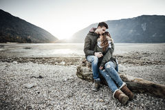Couple having a romantic date stock photography