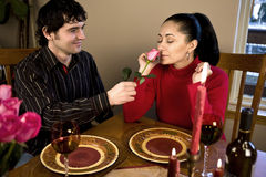 Couple having a romantic dinner royalty free stock photography