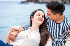 Couple having romantic moment on beach. Royalty Free Stock Photos
