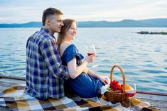 Romantic picnic by the lake Stock Image