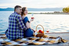 Romantic picnic by the lake Royalty Free Stock Image