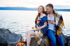 Romantic picnic by the lake Stock Photos