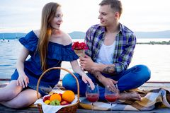 Romantic picnic by the lake Stock Images