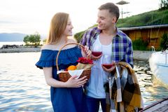 Romantic picnic by the lake Royalty Free Stock Photos