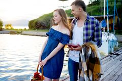 Romantic picnic by the lake Royalty Free Stock Photo