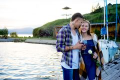 Romantic picnic by the lake Royalty Free Stock Photography