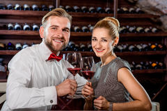 Couple having romantic wine tasting at the cellar Stock Images