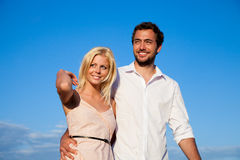 Couple having walk on vacation Royalty Free Stock Photo