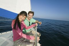 Couple Having Wine On The Yacht Stock Photo