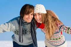 Couple having a winter walk Stock Photos