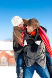 Couple having a winter walk Stock Photography