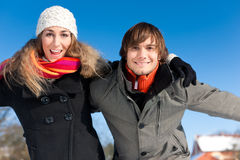 Couple having a winter walk Stock Image