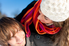 Couple having a winter walk Royalty Free Stock Photo