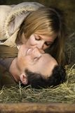 Couple in hay. Stock Photos