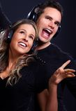 Couple with headphones Royalty Free Stock Photos