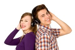 Couple in headphones Royalty Free Stock Images