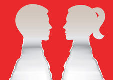Couple heads paper silhouettes. Stock Photo