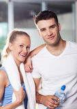 Couple in health club. Young couple in health club Royalty Free Stock Photo