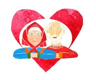 A couple of healthy happy seniors grandparents on a red heart background as a Valentine`s Day card or an illustration for an stock illustration