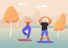 Couple of Healthy People Doing Yoga Asana or Aerobics Exercise Standing with Hands Up in Urban City Park, Sport Life Activity. Man and Woman Healthy Lifestyle vector illustration