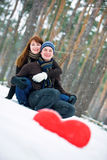 Couple with heart Stock Photography