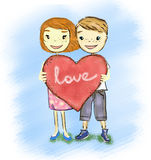 Couple_With_Heart Imagem de Stock